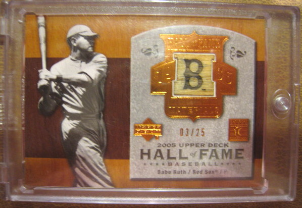 Babe Ruth 2005 Upper Deck Hall Of Fame Game Used Bat Card