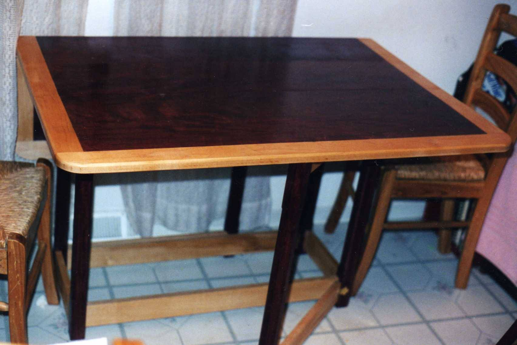 Purple heart and maple Gate leg style table