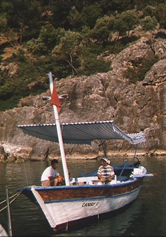 """traditional """"pancake"""" boat, Gemiller anchorage, Turkey"""