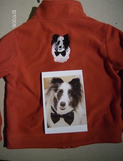 Jacket with digitized dog