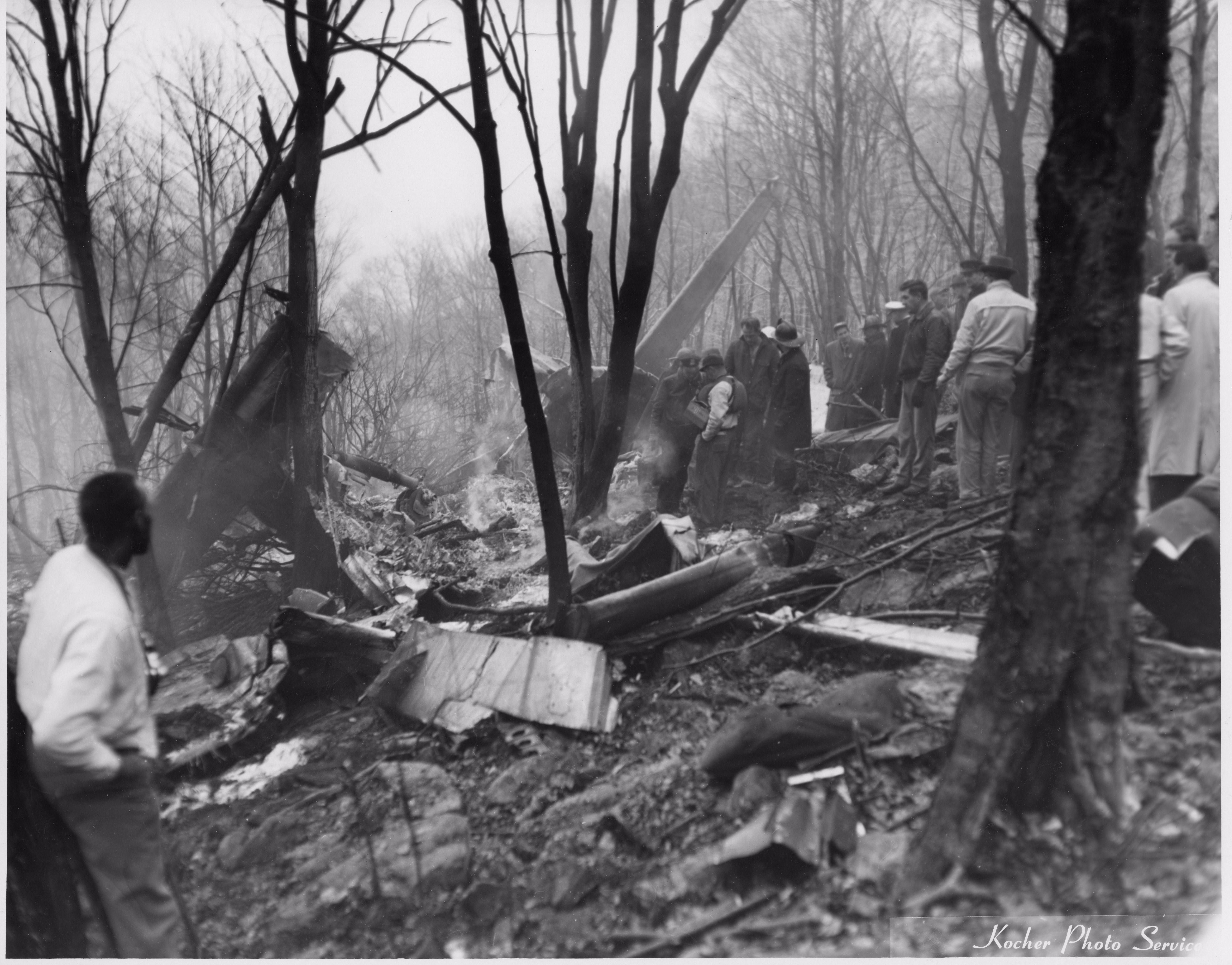 Plane wreckage. Photo courtesy of the Williamsport Sun Gazette archive.