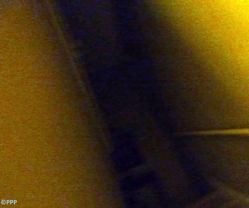Misty pillar on stairs