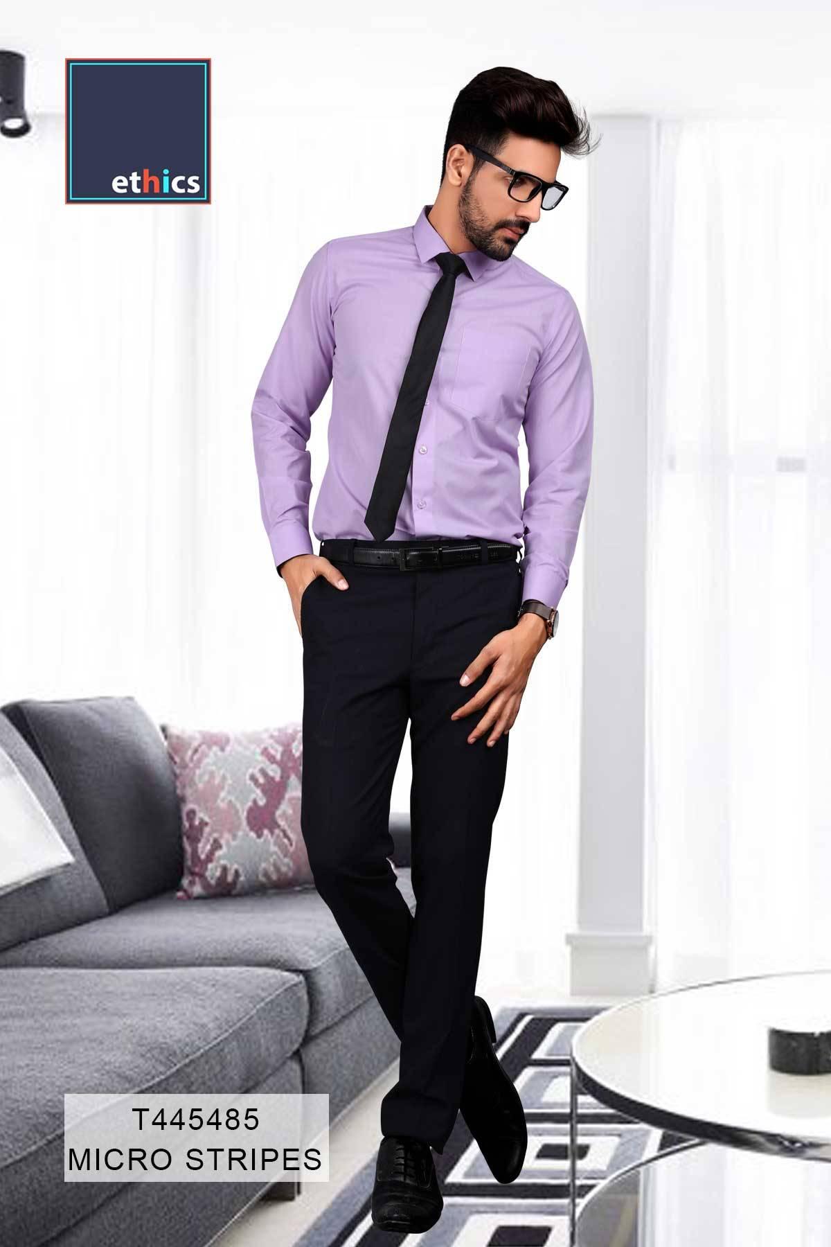 Purple Plain Formal Uniform Shirts for Office Staff T-445488