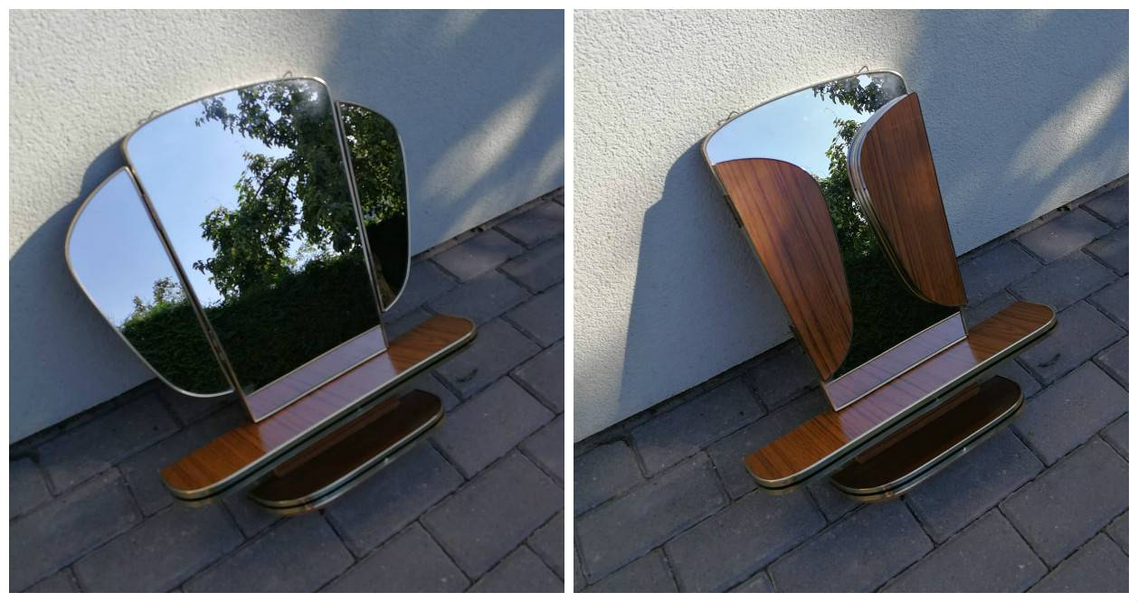 Vintazinis veidrodis su lentynele. Kaina 82