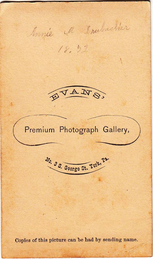 Evans of York, Pennsylvania - back