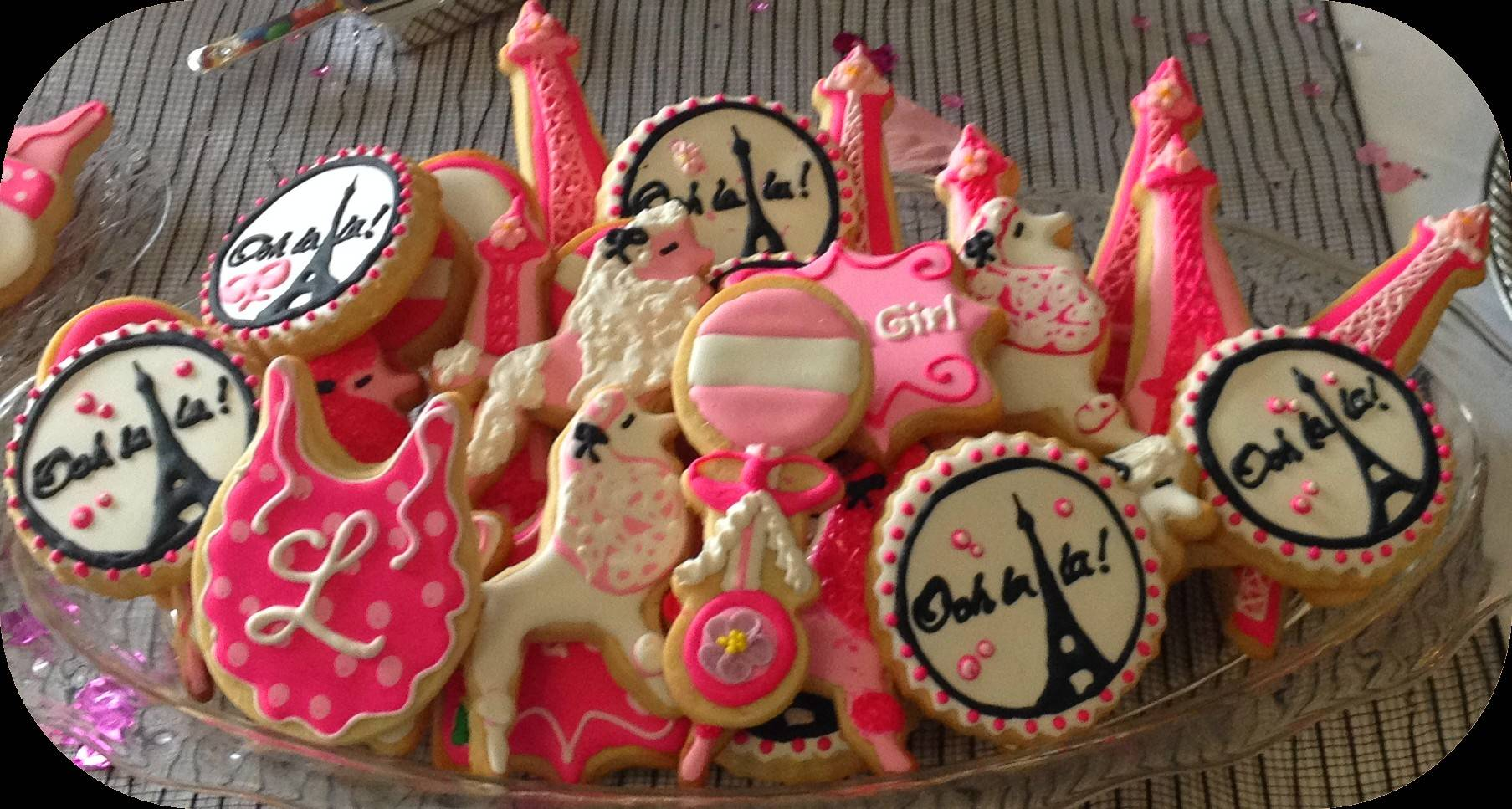 Baby Shower Custom Cookies Paris Theme Ooh la la