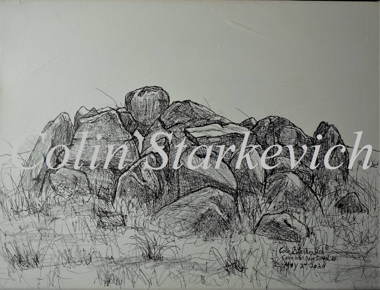 """Cairn Erratic Drawing ( 12 by 16"""" mixed media on canvas)"""