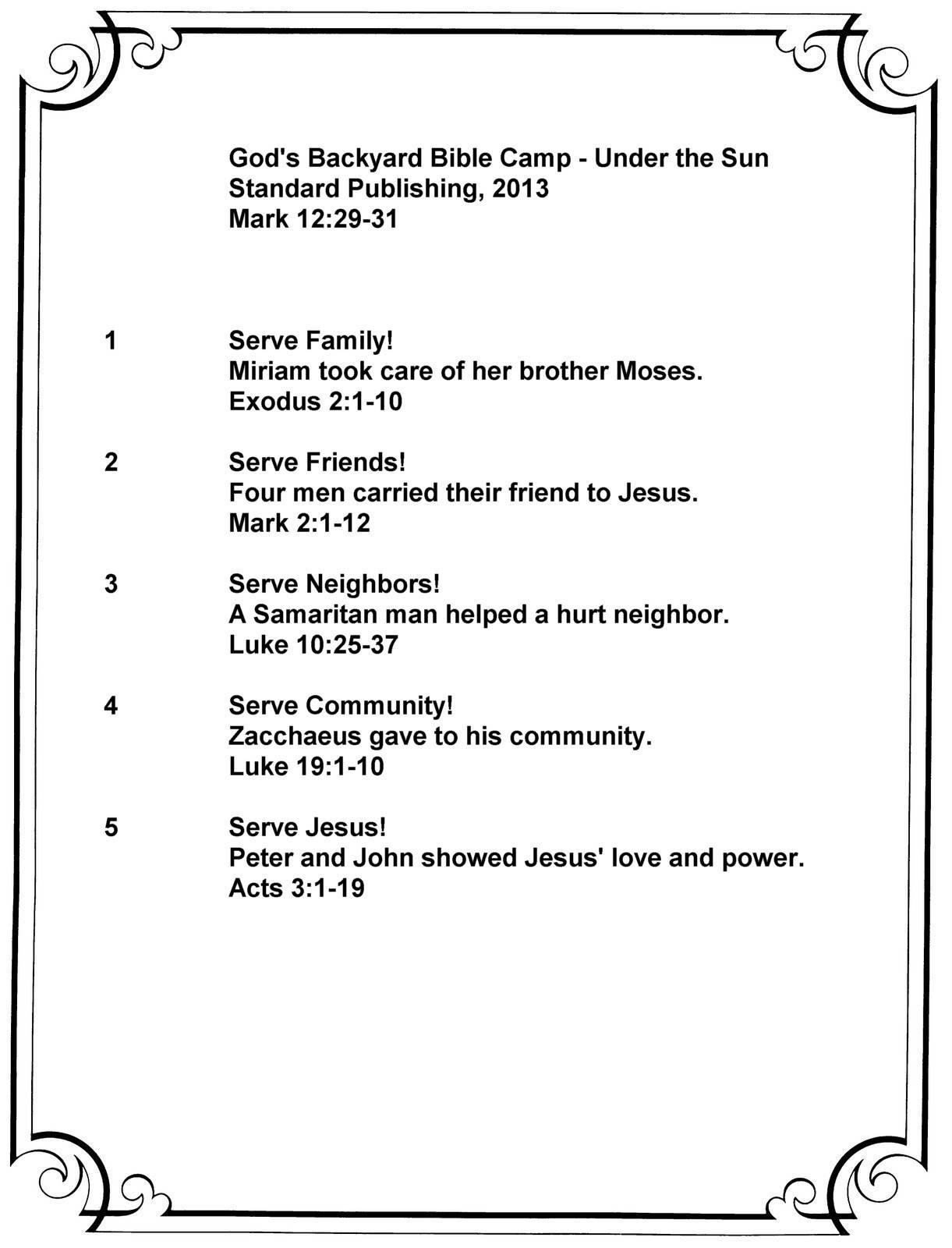 God's Backyard Bible Camp  Under the Sun Summary