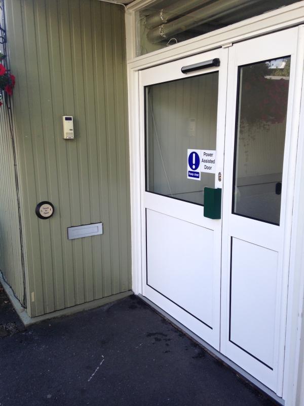 New door with power assistance.