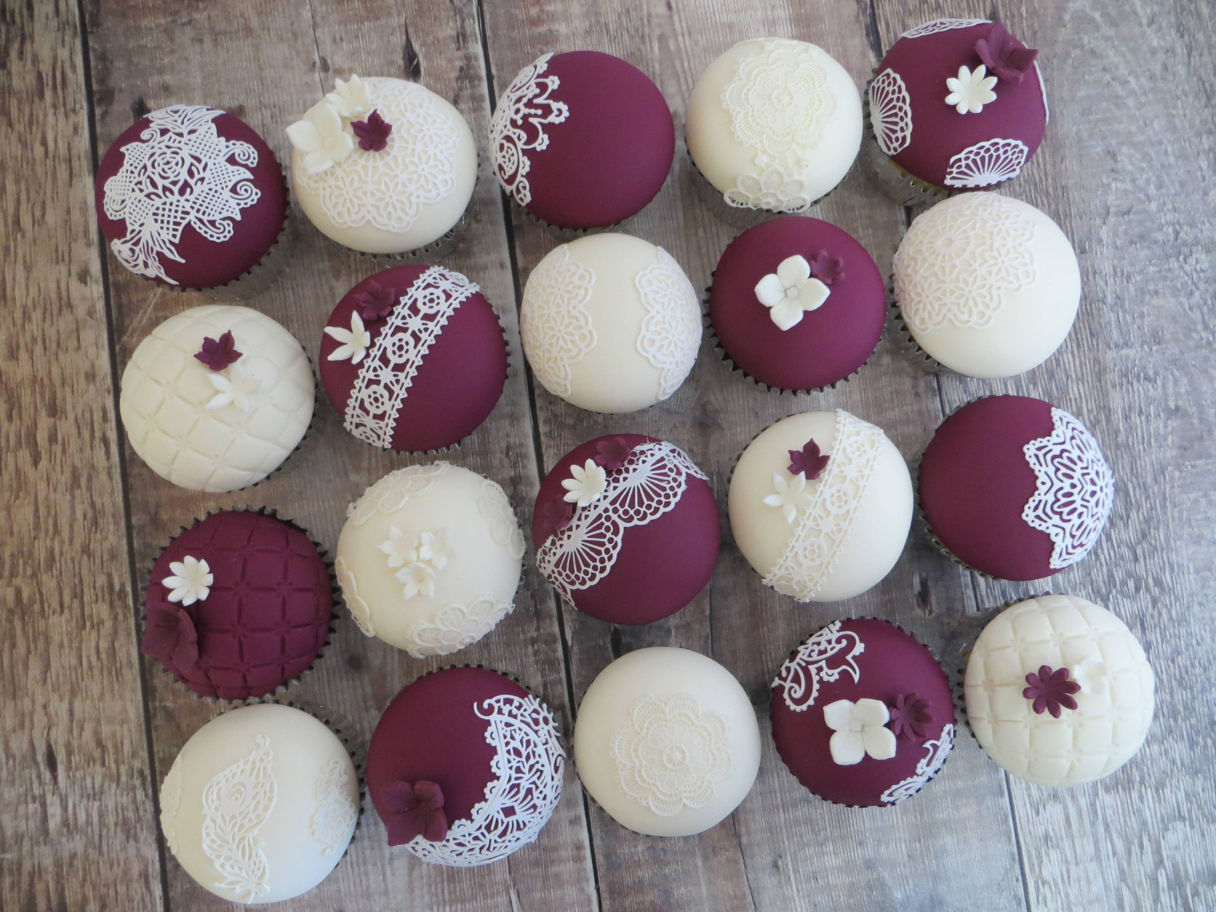 Burgundy and ivory lace cupcakes