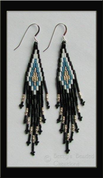 Stacked Bugle Bead & Seed Bead Earrings $30.00