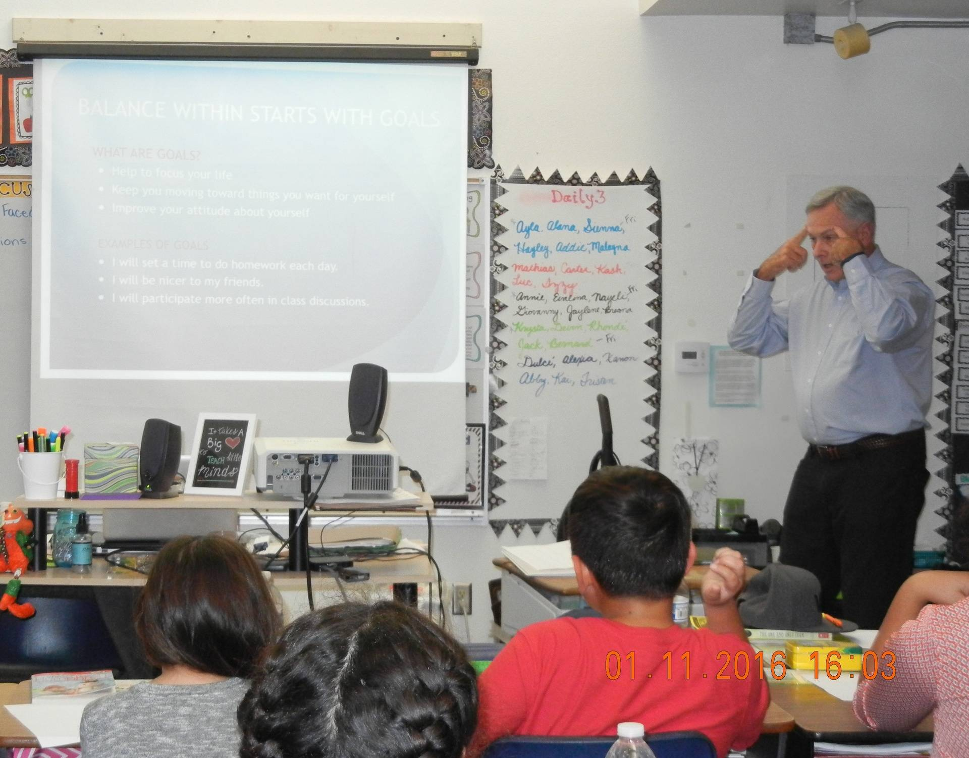 Speaking at McAuliffe Elementary School, Oceanside, CA