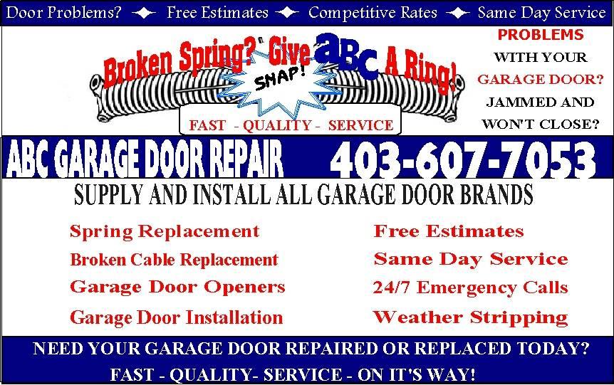 ABC Garage Door Repair, 607 Templeside Road NE, Calgary, Alberta > Calgary, T1Y 3M4, Canada