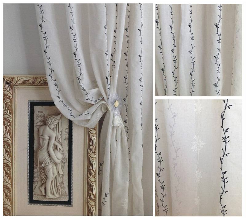 """Sheers Curtains: Embroidery with floral pattern that creates a polished and modern look .It goes beautifully with window treatments for large window curtains or patio door window treatments. 3"""" rod Pocket ."""