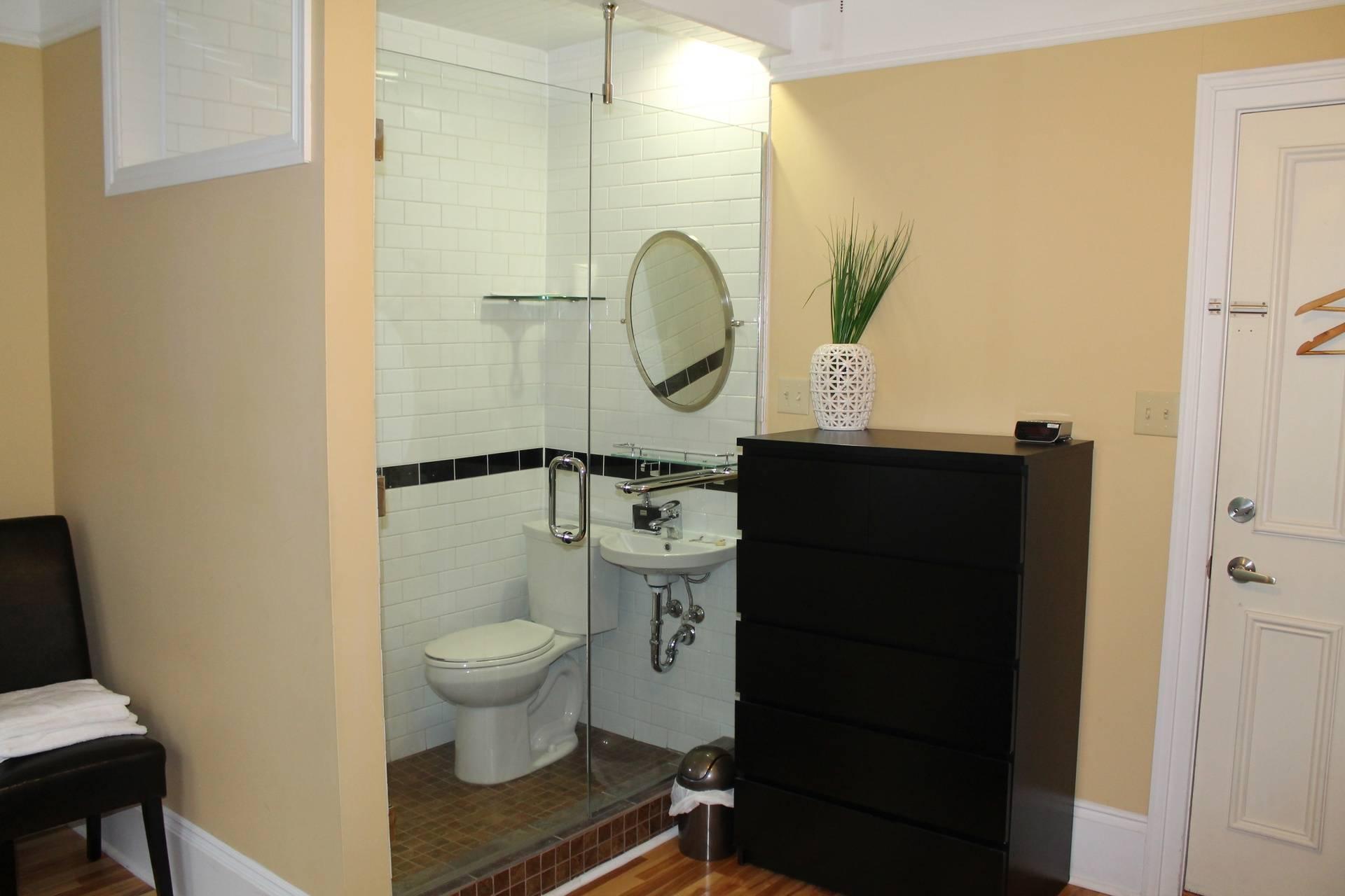 larger bathroom area
