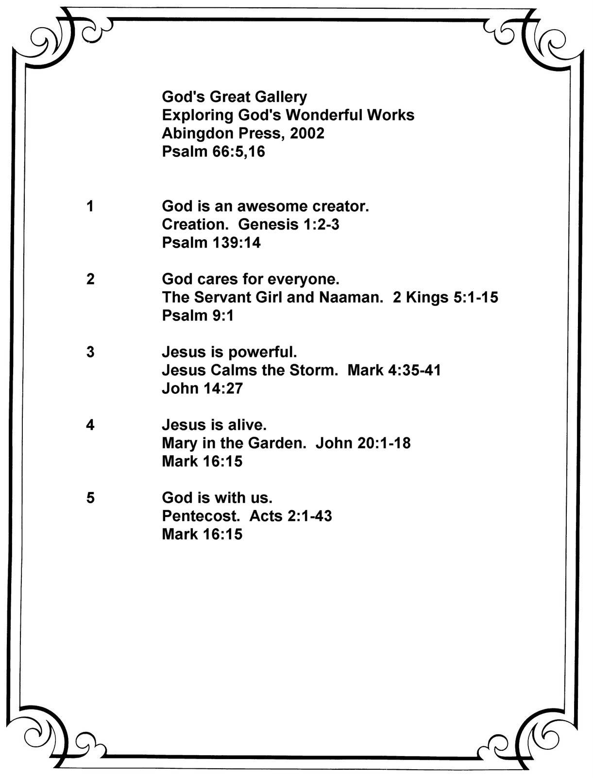 God's Great Gallery Summary