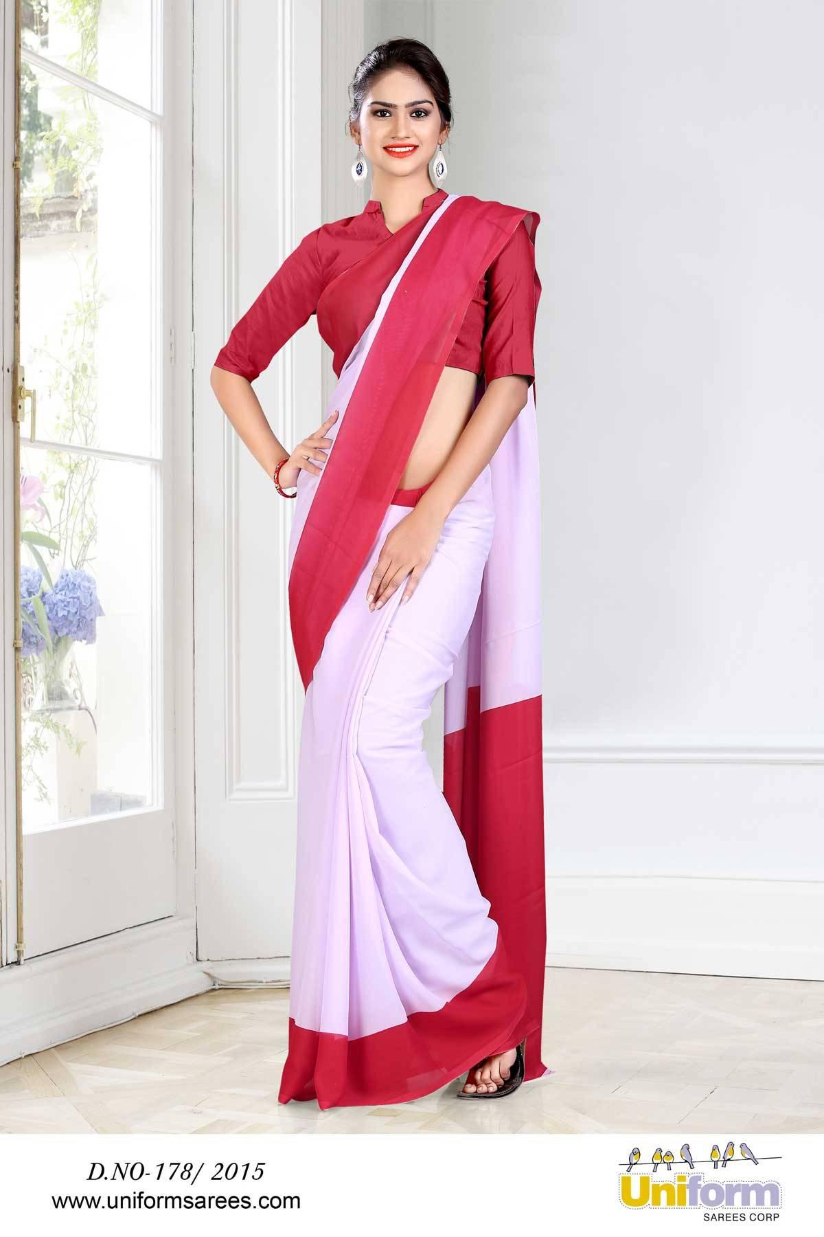 White Border Uniform Saree | Uniform Design No 178/2015