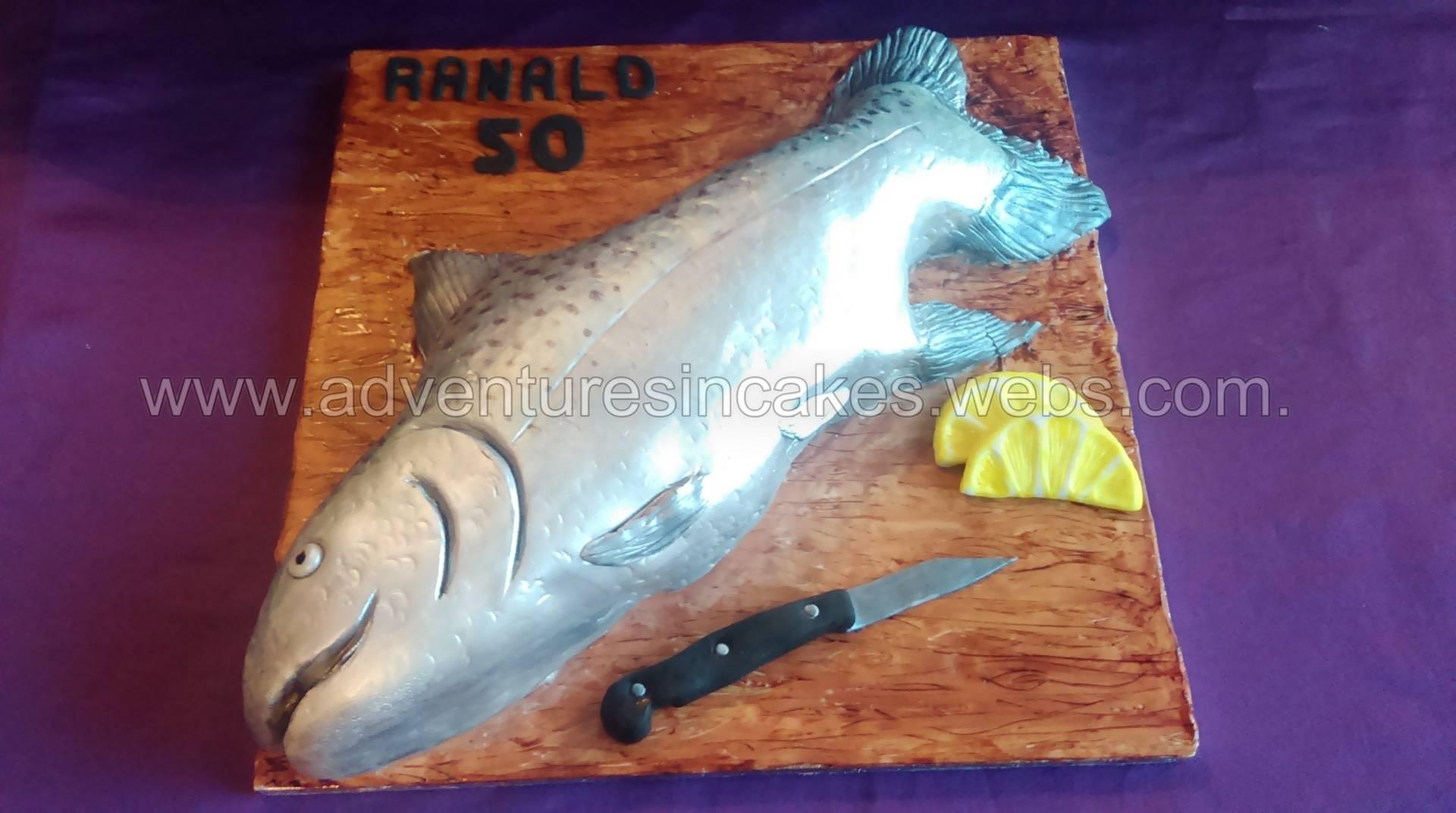 Salmon Birthday cake (knife & lemon are made from sugarpaste)