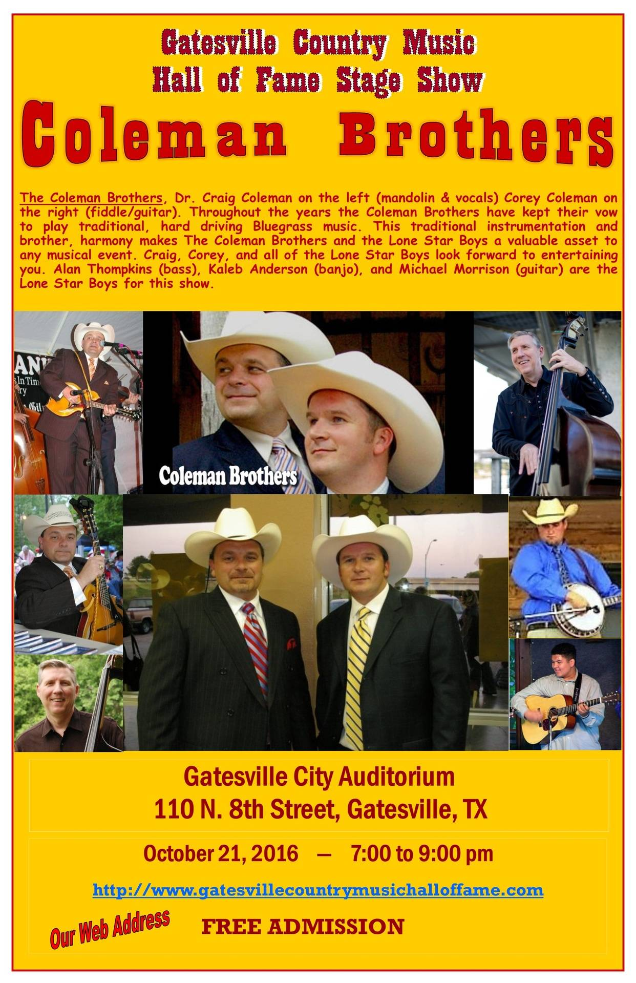 The Coleman Brothers and The Lone Star Boys, Oct. 21, 2016