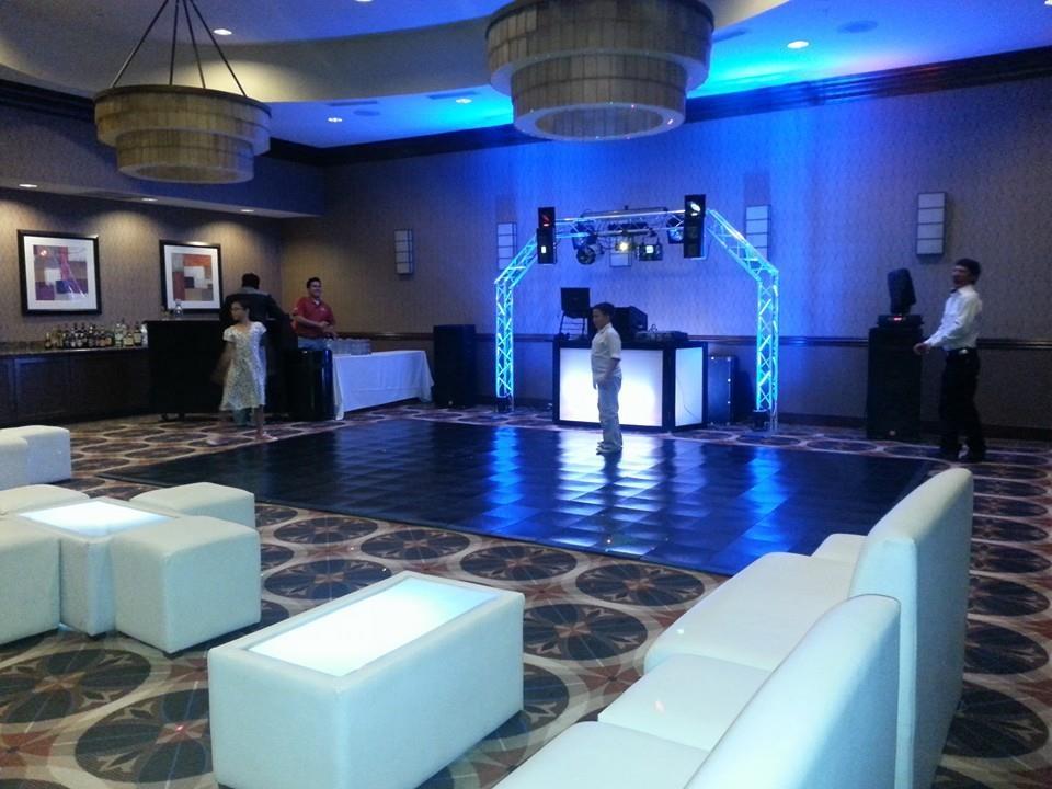 Dj set up and v.i.p. lounge at Hilton Garden