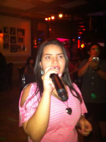 Hailey expressing herself at Joe's Place Friday Night Karaoke Fiesta!
