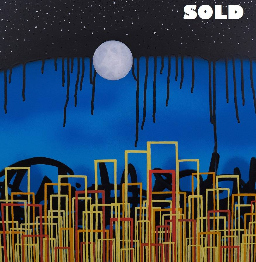 """""""The Dancing Lights of New York Nights"""" acrylic paint and ink on 18 x 18 x 1.75 inches deep cradled wood panel, signed by the artist on the side, signed, titled, and dated by the artist on the reverse, 2017, *SOLD*"""