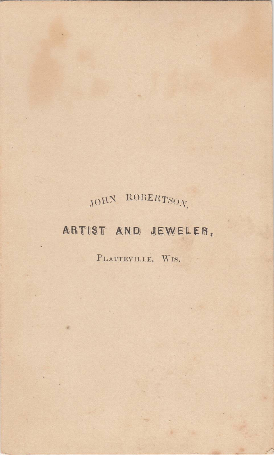 John Robertson,  photographer of Platteville, WI No. 2 - back