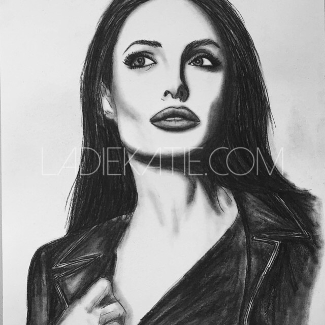 Angelina Jolie Charcoal Illustration