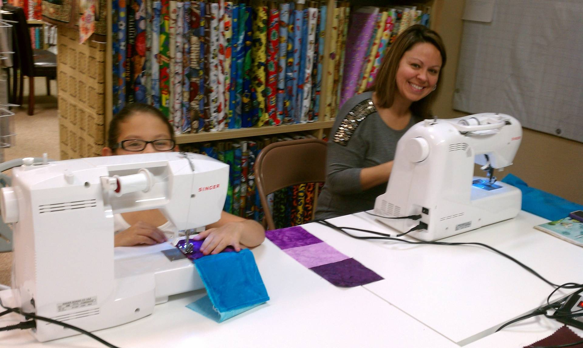Mom and daughter learning to quilt!