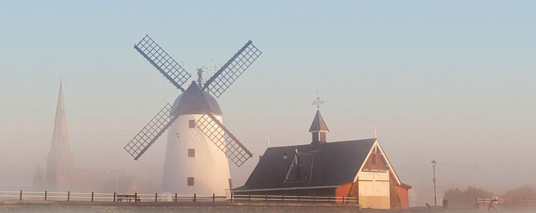Lytham Windmill and lifeboat house.