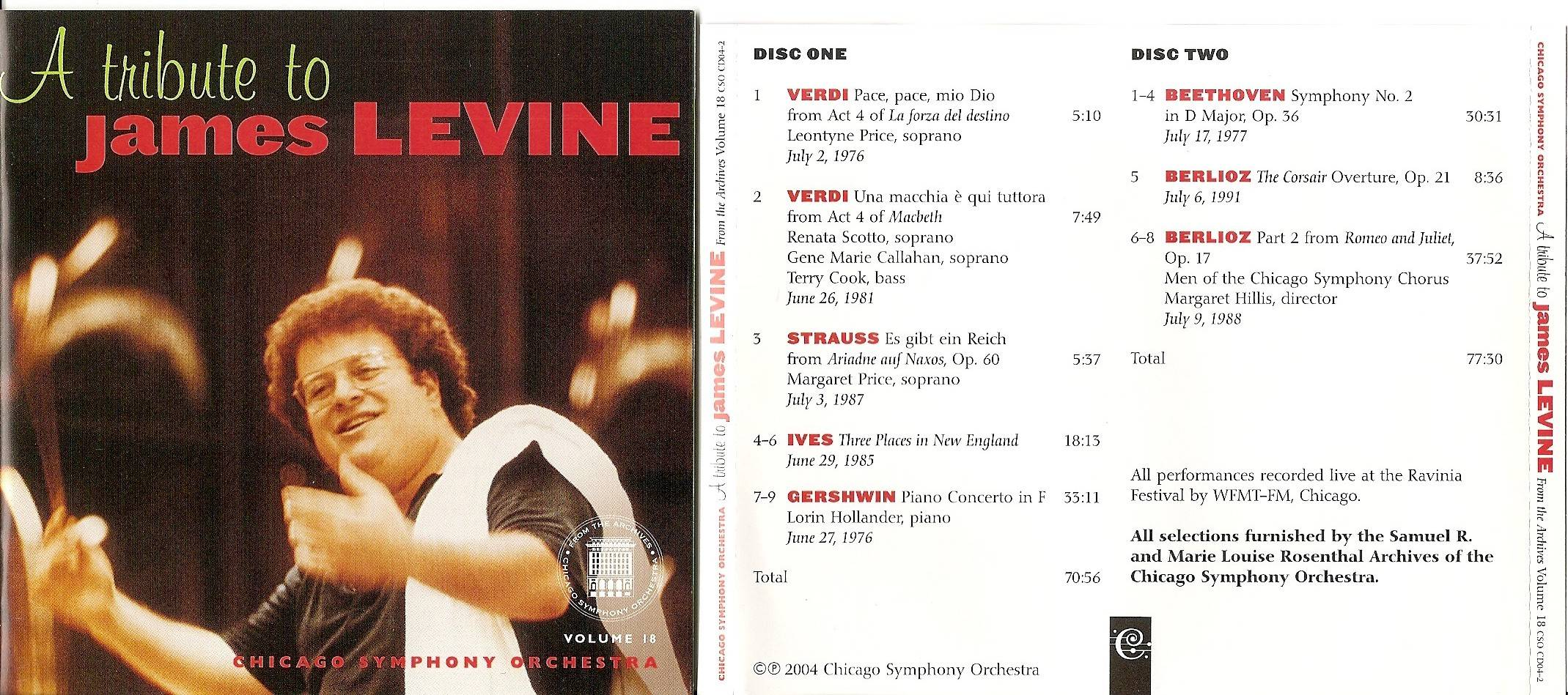 Chicago Symphony Orchestra - From the Archives, Vol.18: A Tribute to James Levine, 2-CD set (2004)