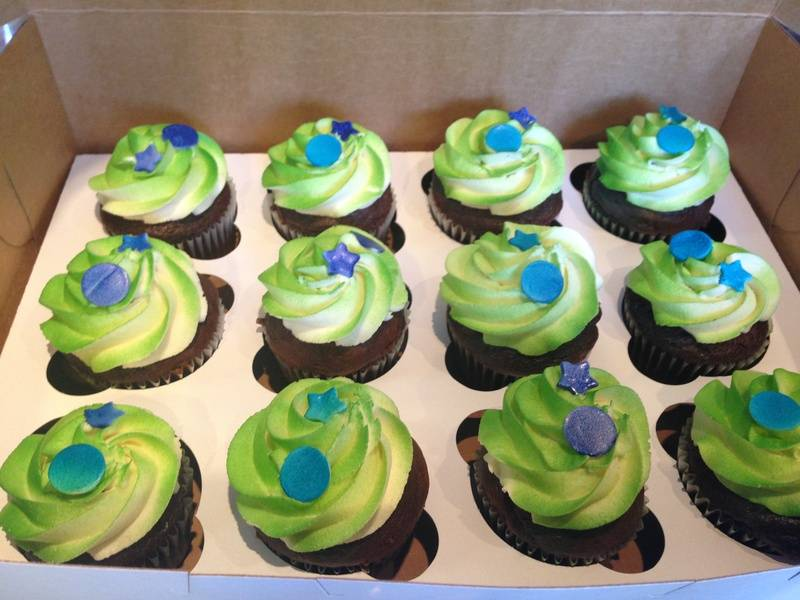 Green Cupcakes with Stars and Dots