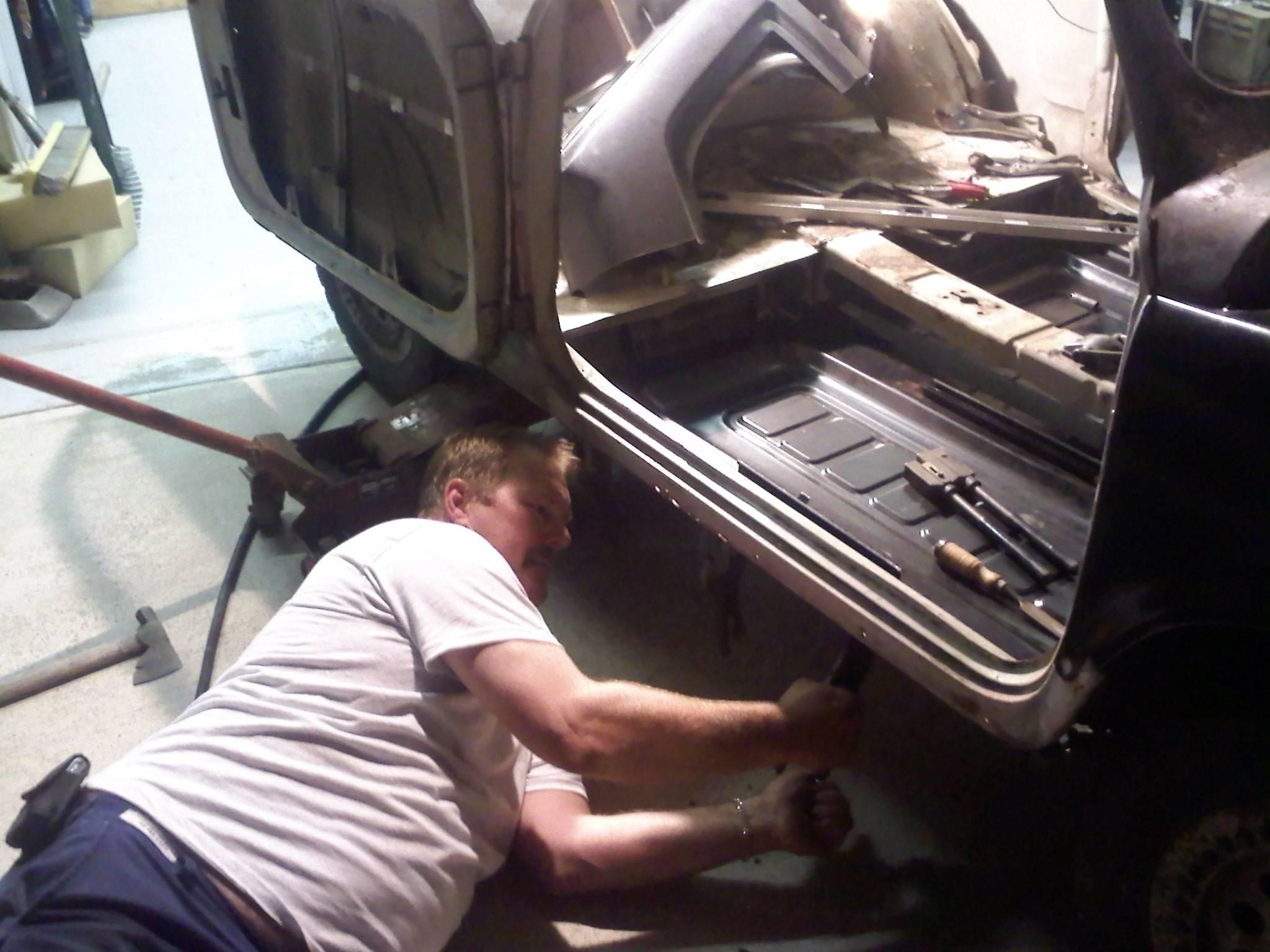 Passenger side new floor pan