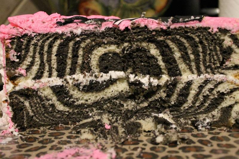 Zebra inside out cake