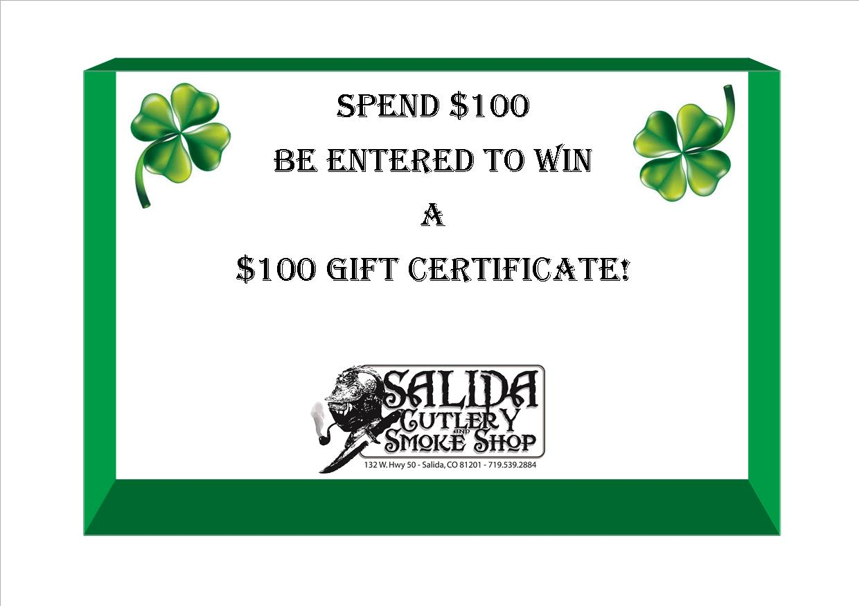 Spend $100, be entered to win $100 gift certificate!