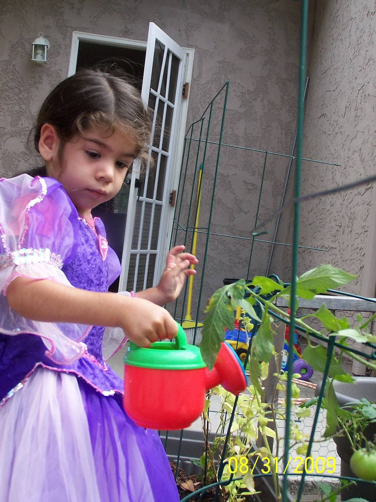 The Princess waters the garden