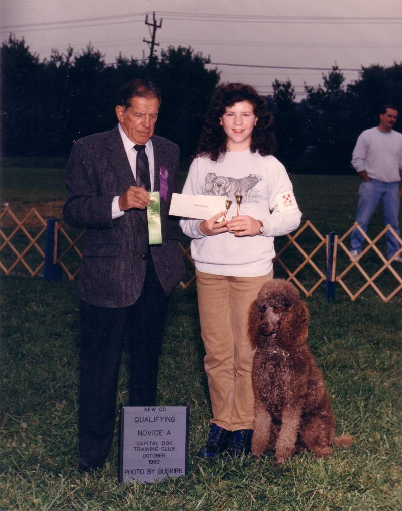 Lady with new CD title.  Evelyn earns first obedience title at the age of 12.  10/4/92.