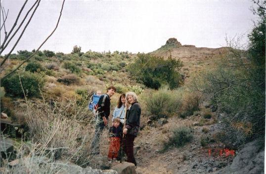 Cory, David, Kim & the kids hiking in Arizona