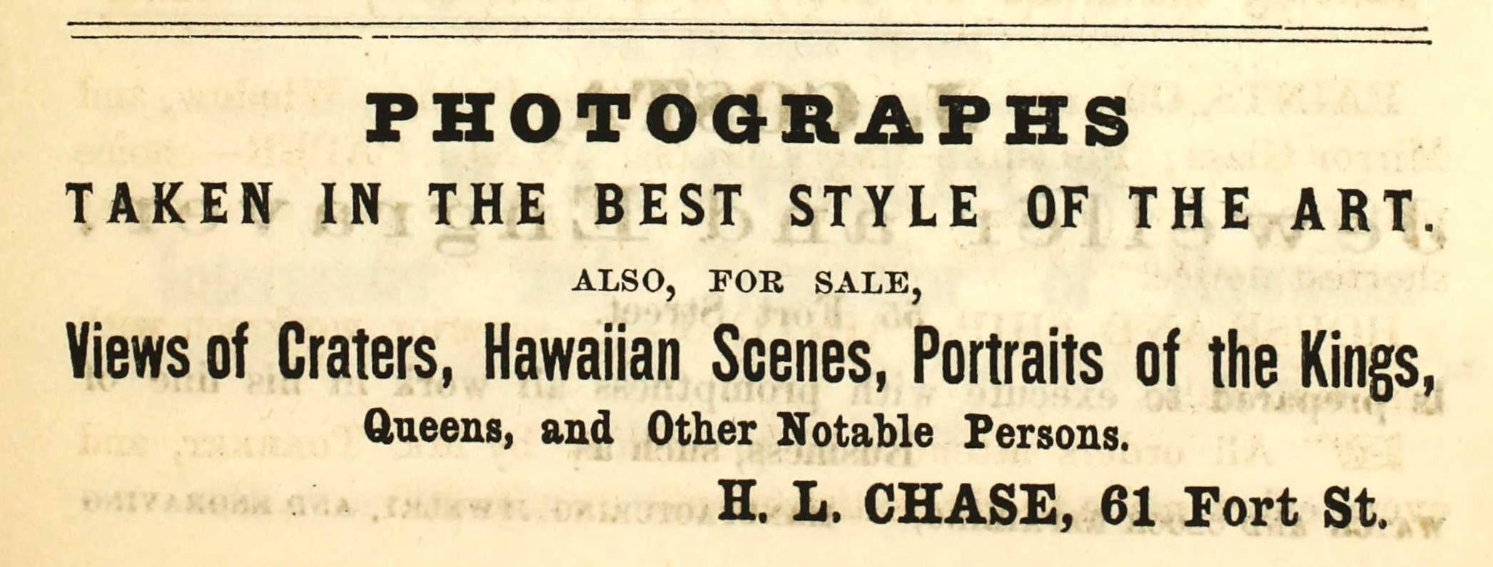 H. L. Chase, photographer, Honolulu, Hawaii