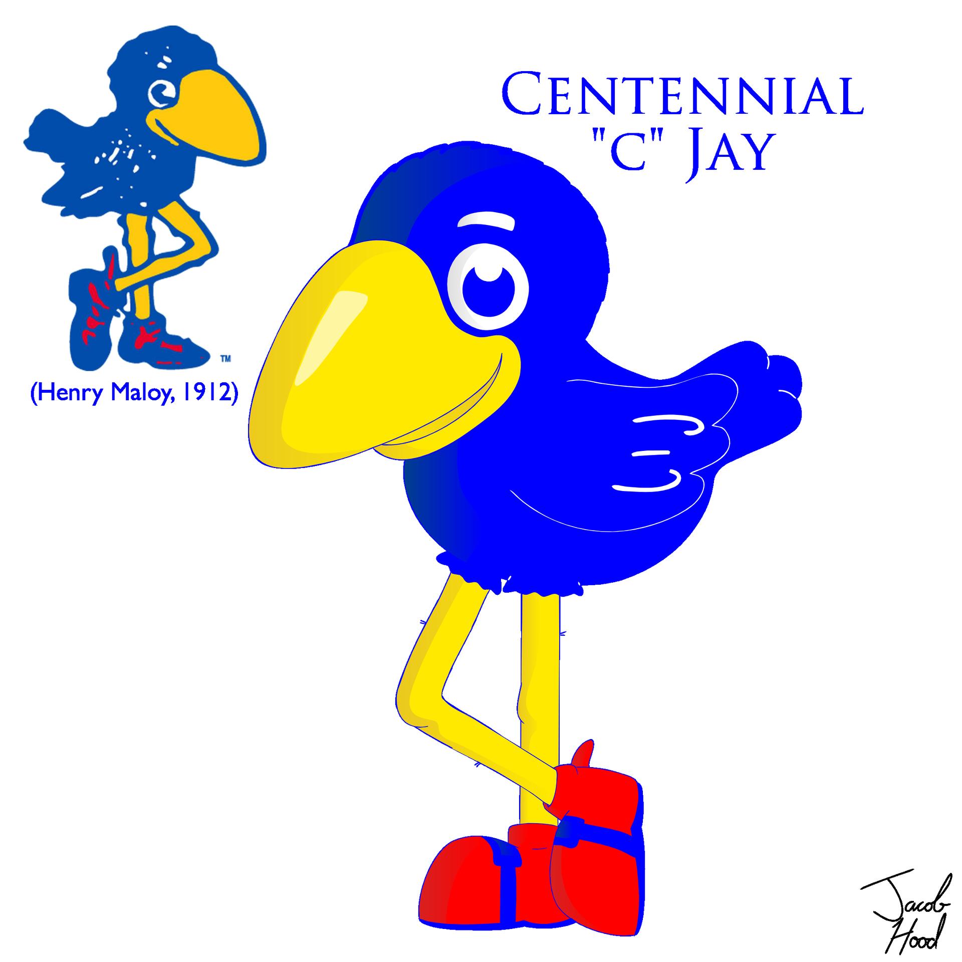"""KU Centennial """"C"""" Jay - University of Kansas Jayhawk Mascot (Henry Maloy, 1912)"""