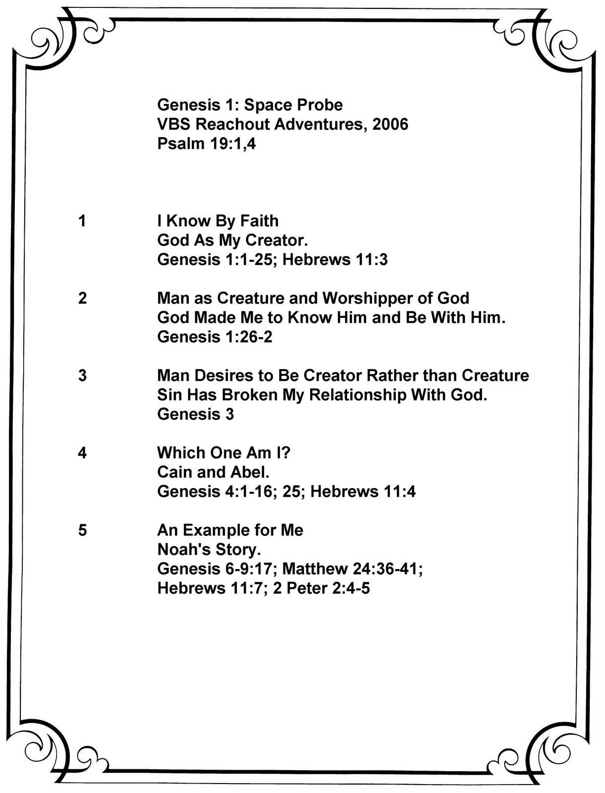 Genesis 1; Space Probe Summary