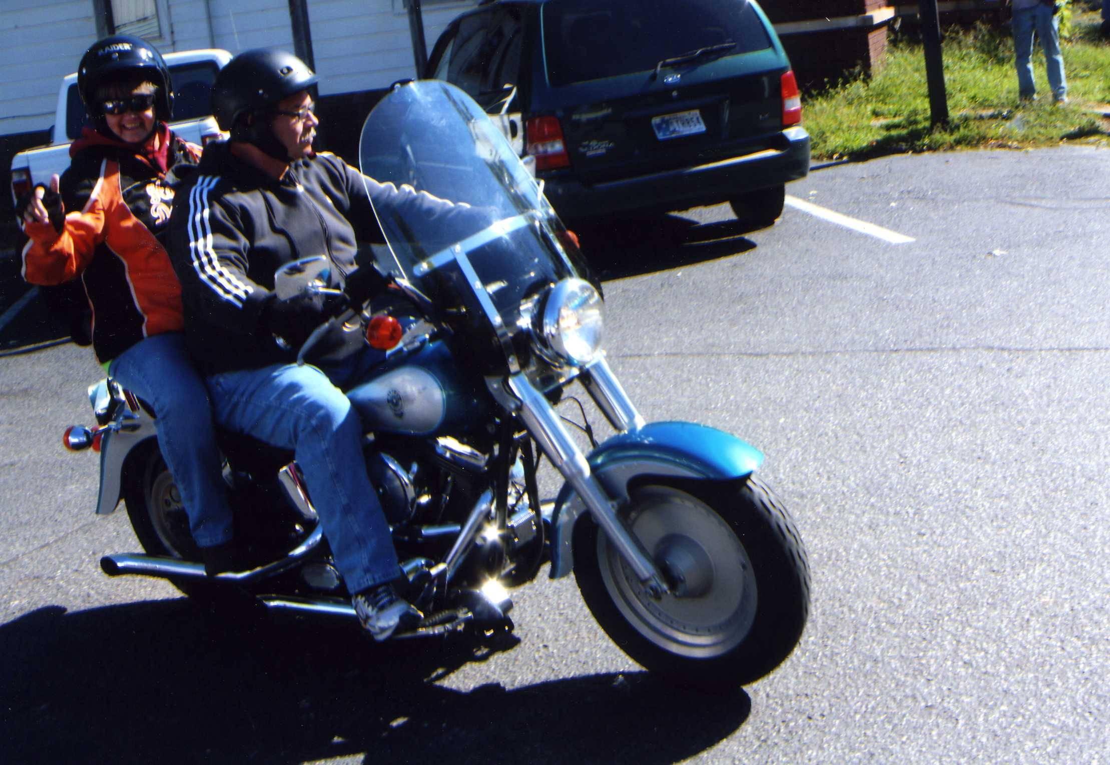 Riders leaving the Moose Lodge.