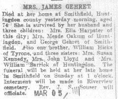 Gehret, Mrs. James 1909