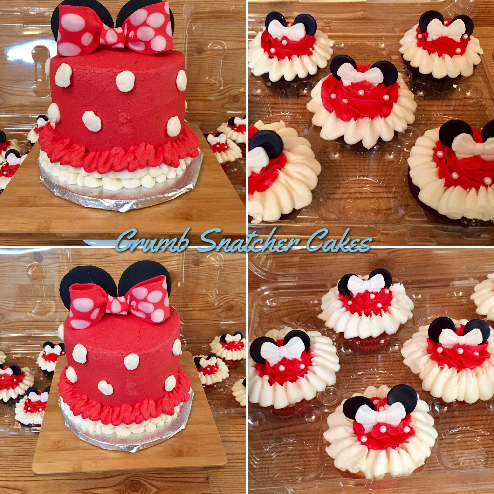 Minnie Mouse themed cake w/ matching cupcakes.