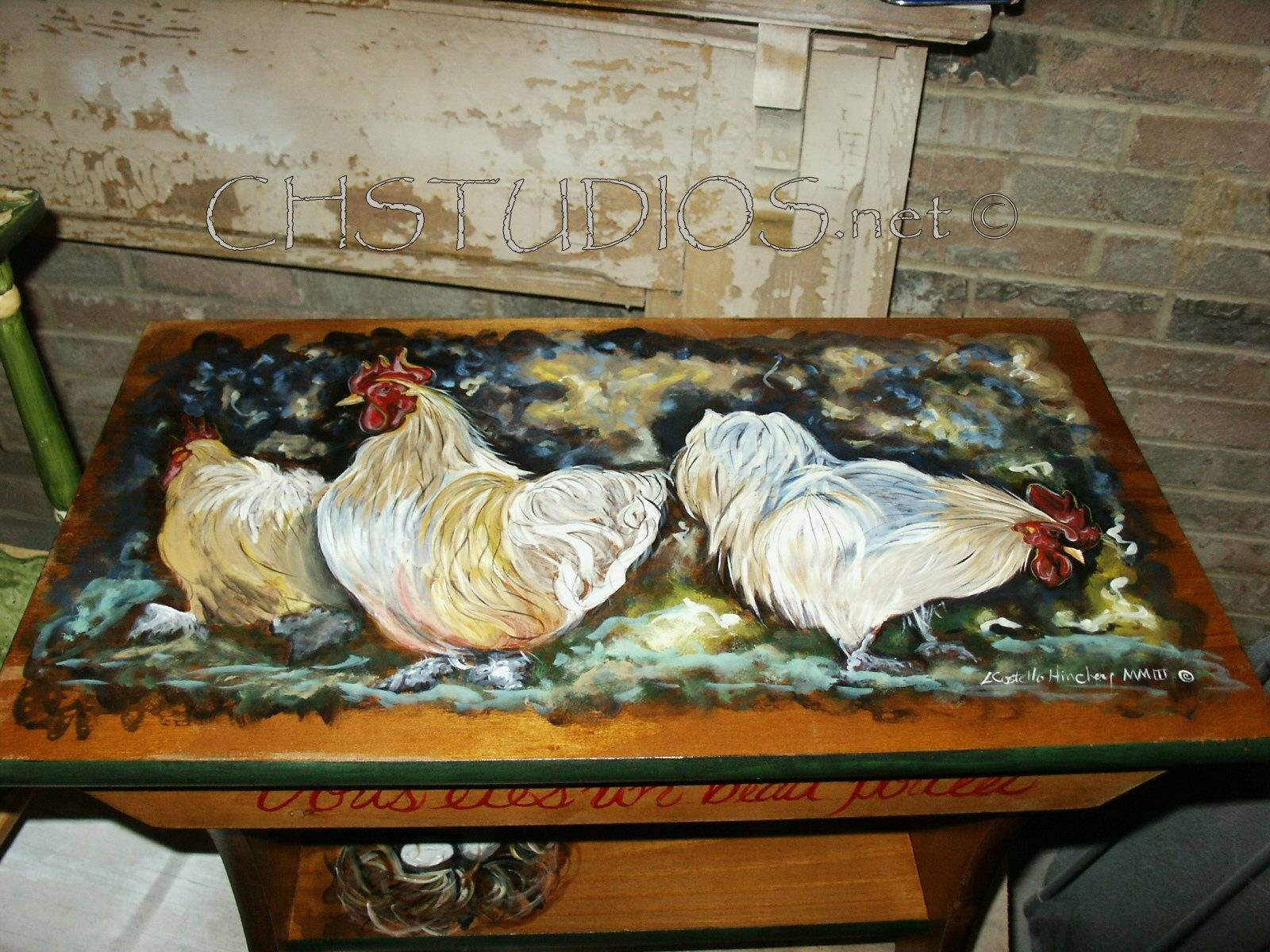 Hand Painted Hens & Chickens Bench