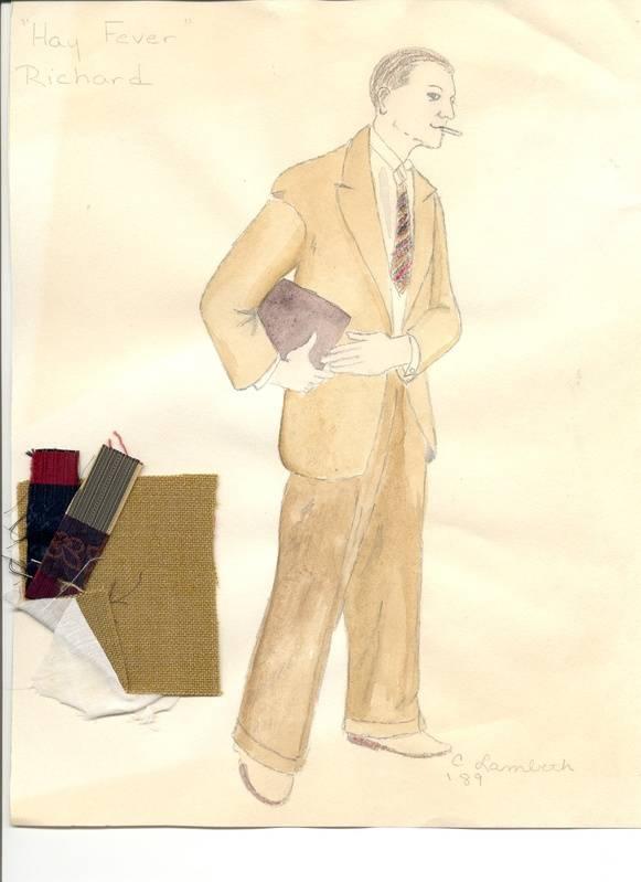 "Costume rendering for Richard, ""Hay Fever"""