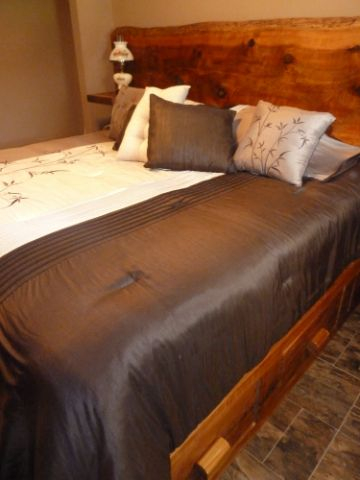 Finished bed in a customer's bedroom