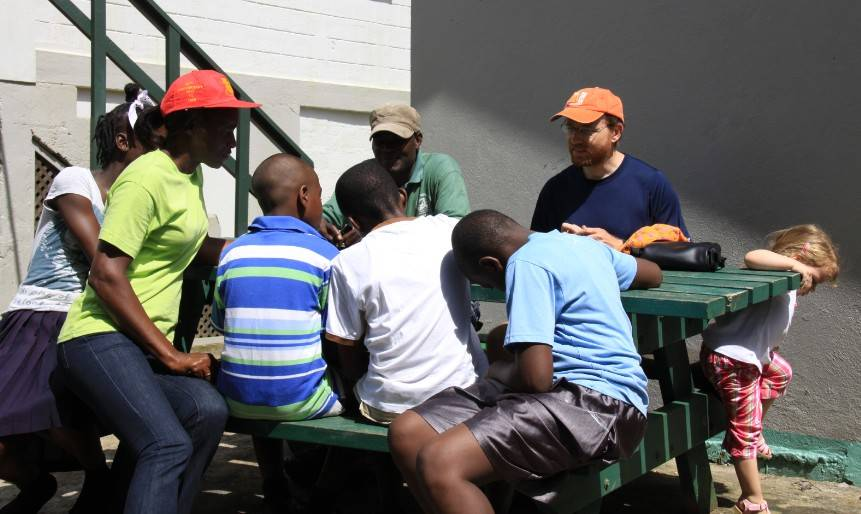 Shawn Philbert (Forestry Officer) and JB Leca speaking about the mona monkey project with an elementary school teacher and her pupils (and Maya!) in the Grand Etang National Park (central Grenada, West Indies) in April 2014.