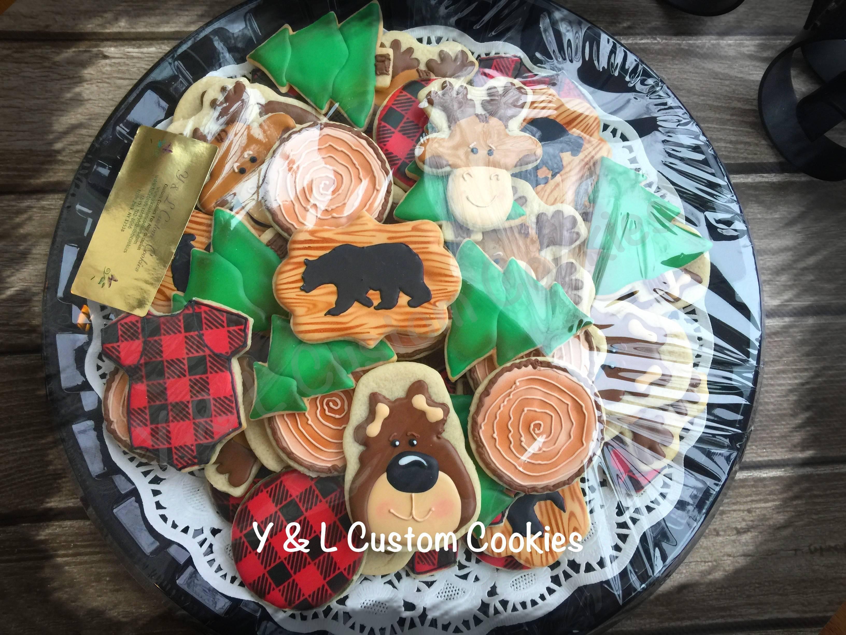 Rustic Baby Shower Bear Buffalo Plaid Custom Cookies