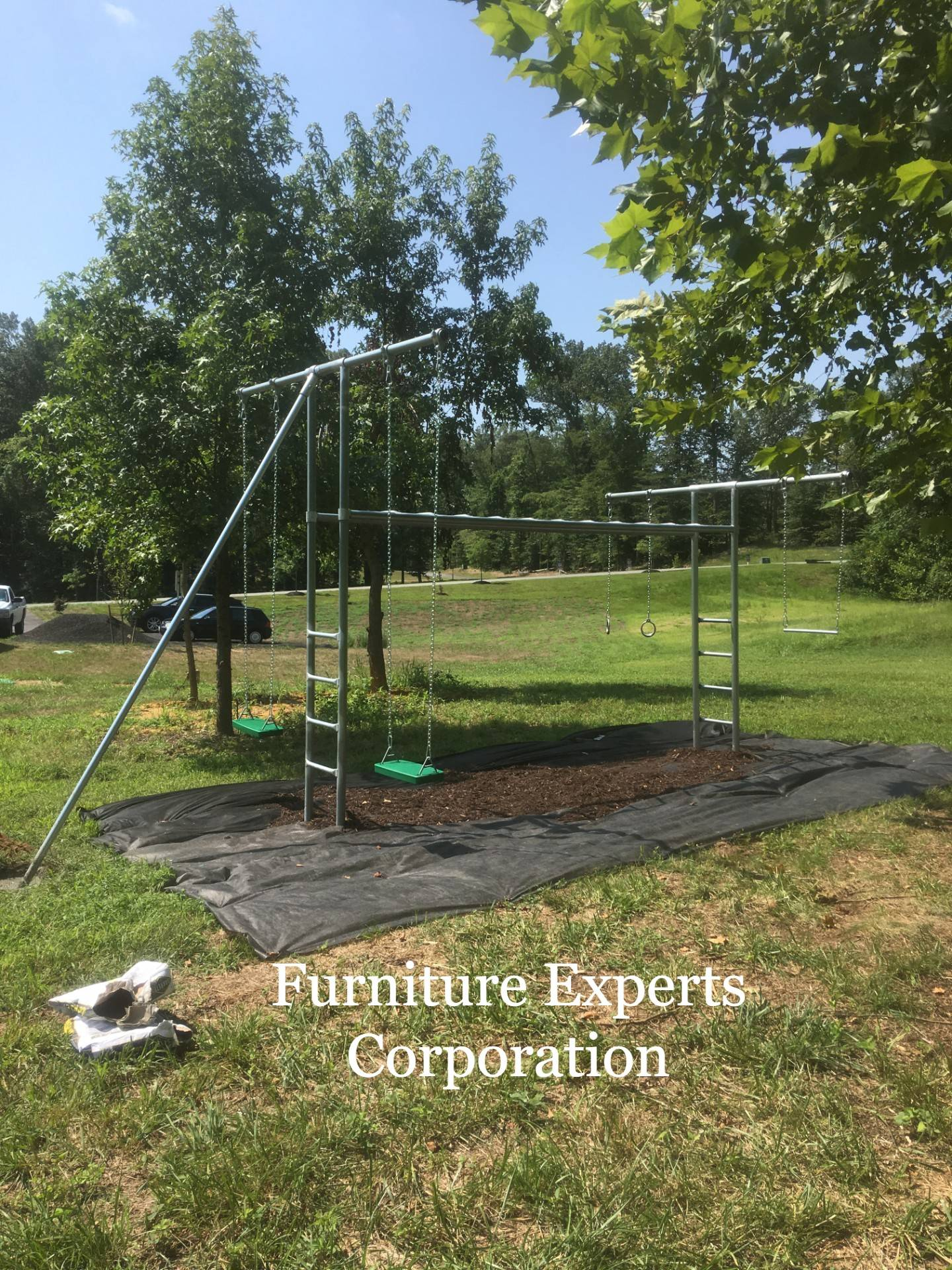 Metal swing set installation completed in Waldorf MD